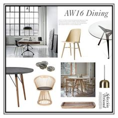 """""""AW16 Dining Room"""" by thehouseologists ❤ liked on Polyvore featuring interior, interiors, interior design, home, home decor, interior decorating, Menu, Lene Bjerre, Tom Dixon and Garden Trading"""