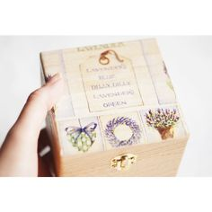 Wooden jewelry box with lavender gift idea, jewelry box, storage box,... ($17) ❤ liked on Polyvore featuring home, home decor, jewelry storage, jewellery storage box, jewelry chest, lacquer storage boxes, wood jewelry chest and floral storage boxes