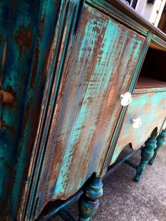 Heavy Distressed Buffet in Patina Green and Coastal Blue Milk Paint | General Finishes Design Center