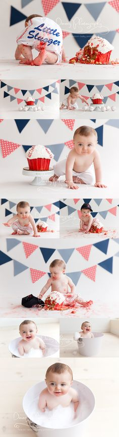 I don't like the baseball theme or colors but LOVE the idea of using a cute tub to clean up baby and take photos One Year Birthday, First Birthday Cakes, 1st Boy Birthday, Birthday Ideas, Baby Cake Smash, Birthday Cake Smash, 1st Birthday Pictures, Baseball Birthday, Baseball Party