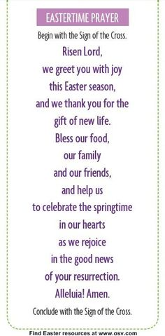 easter meal prayer catholic for young children - Google Search