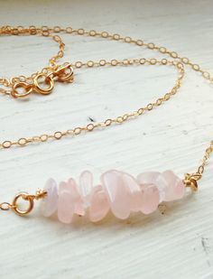 Rose Quartz Bar Necklace with Gold Filled Chain - Unique Gift for Women