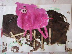 Week Pigs Pigs in the mud Three Little Pigs, This Little Piggy, Art For Kids, Crafts For Kids, Wool Insulation, Farm Art, Farm Theme, Spring Art, Toddler Activities