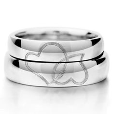 Matching His and Her Hearts Wedding Bands for Two
