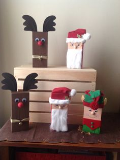 Holiday figures using 2x4s -- Santa, Elf, and reindeer