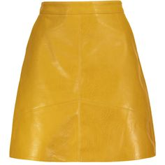 PU Leather A Line Mini Skirt ❤ liked on Polyvore featuring skirts, mini skirts, bottoms, short mini skirts, leatherette skirt, short skirts, yellow a line skirt and yellow skirts
