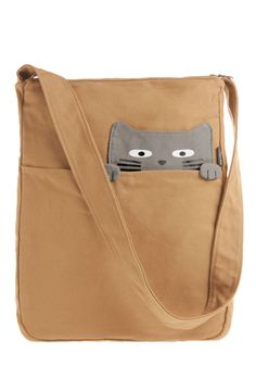 Look What the Cat Bag-ged In Tote in Buddy - Cotton, Tan, Grey, Print with Animals, Kawaii, Casual, Quirky, Top Rated