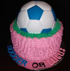 Soccer or Tutus? Soccer Baby, Soccer Theme, Gender Reveal Balloons, Baby Gender Reveal Party, Game Ideas, Party Ideas, Baby Reveal Cakes, Male Gender, Reveal Parties
