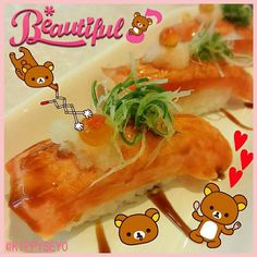 Lunch...Aburi Salmon Nigiri   #lunch #eatout #JapaneseFood #food #MyFavourite #AburiSalmonNigiri #Aburi #Salmon #Nigiri #Sushi #yummy #delicious #SalmonNigiri #AburiNigiri #Rilakkuma #kuma #bear by kippyseyo