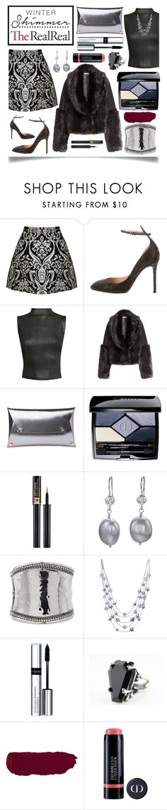 """""""Holiday Sparkle With The RealReal: Contest Entry"""" by ittie-kittie ❤ liked on Polyvore featuring Alice + Olivia, Valentino, Pilot, Whistles, Christian Dior, Lancôme, Dower & Hall, Chico's, Style & Co. and By Terry"""