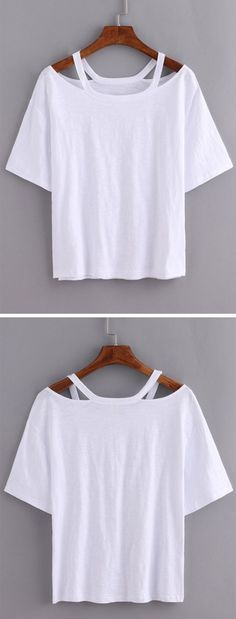 Cutout Loose-Fit White T-shirt with ♥ from JDzigner http://www.jdzigner.com