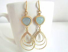 Gold framed mint glass stone dangle earring  by pinkdiamonddesign, $ 21.00
