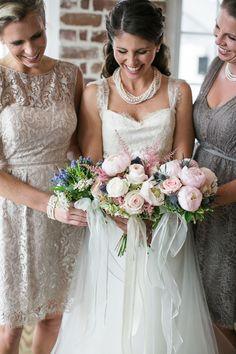 bridesmaids + bouquets, photo by Anchor & Veil Photography http://ruffledblog.com/nautical-romance-wedding-ideas-in-charleston #flowers