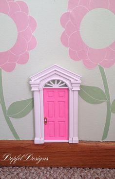 Wooden Fairy Door / Tooth Fairy Door with Brass Door Knob and rhinestone on Etsy, $22.00