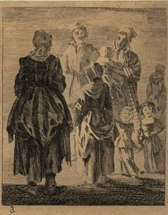 a girl in rustic dress with a basket on her arm, standing next to a woman, their backs to the viewer, greeting a man and a woman who carries a child with two toddlers at her skirts, lit by the sunlight slanting from left. Historical Costume, Historical Clothing, Rustic Dresses, Figure Studies, Museum Collection, Working Woman, Mother And Child, British Museum, 18th Century
