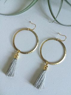 Gray Tassel Earrings by HanawearJewelry on Etsy