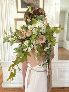 """""""Free Form"""" Wedding Bouquet: Sandy Taupe Roses, White Foxgloves, White Snowberries + Several Varieties Of Greenery and Foliage"""