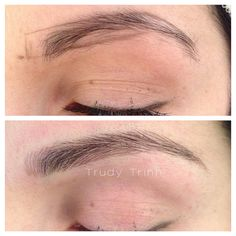 Microblading hairstrokes to create a longer, more flattering eyebrow.