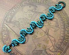 BLUE WAVES Cellini Spiral bracelet and earrings beading