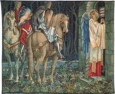 One of the Holy Grail Tapestries ~ designed by Edward Burne-Jones, heraldry by William Morris, and foreground florals and backgrounds by John Henry Dearle. This one is The Failure of Sir Gawaine, now in the Birmingham Museum & Art Gallery. King Arthur Legend, Legend Of King, Dante Gabriel Rossetti, Birmingham Museum, Birmingham Art, Roi Arthur, Green Knight, Edward Burne Jones, Museum Art Gallery
