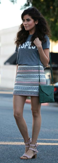 Multi Aztec Print Skirt