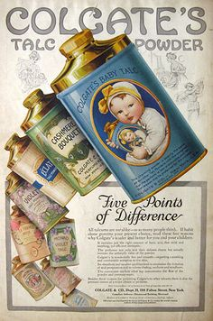 Talc Powder Ad ~ Beautiful Packaging Colgate Baby Talc ad 1910 - Vintage Retro Advertisement Ad Art Poster Print Postcard ☮~ღ~*~*✿⊱ レ o √ 乇 ! ~Colgate Baby Talc ad 1910 - Vintage Retro Advertisement Ad Art Poster Print Postcard ☮~ღ~*~*✿⊱ レ o √ 乇 ! Pub Vintage, Vintage Labels, Vintage Ephemera, Vintage Cards, Old Advertisements, Retro Advertising, Retro Ads, Poster Retro, Poster Ads