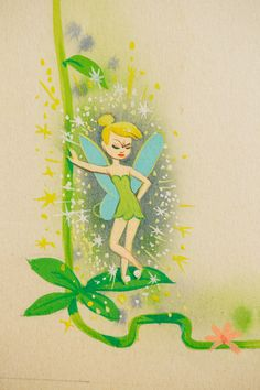 Here's an exclusive look at Tinker Bell in the Peter Pan Golden Book from the Disney Publishing archive. Look at that Pixie Dust.