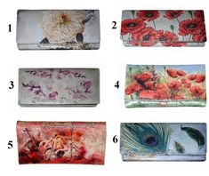 Painted wallet, Handmade decorated wallet, hand painted wallet, decorated wallet, poppies wallet, peacock wallet, girl with violin wallet