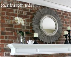 Love the grey stain on this DIY sunburst mirror using packs of shims from your local hardware store.
