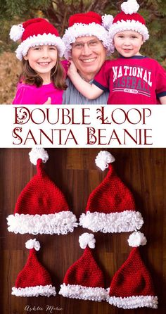 Ashlee Marie: Double loop crochet Santa beanie pattern – infant to adult