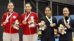 July 16 - Badminton - Women's - Singles.  Canada's Rachel Honderich - Silver.  Canada's Michelle Li - Gold.  USA's Jamie Subandhi & USA's Iris Wang - Bronze.