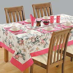 Clematis Printed Rectangular Table Linen- Decorate your setting this season with the inspirations of spring seasons