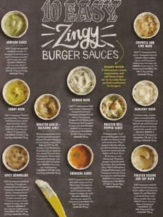 Light - Zingy Burger Sauces - The Sauce Makes the Difference! - Cooking Light – Zingy Burger Sauces – The Sauce Makes the Difference! – solid food – -Cooking Light - Zingy Burger Sauces - The Sauce Makes the Difference! Sauce Recipes, Cooking Recipes, Healthy Recipes, Easy Recipes, Cooking Sauces, Cooking Oil, Fancy Sauce Recipe, Easy Burger Recipes, Easy Cooking