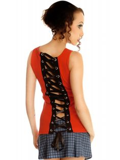 Folter Women's Corset Beater Tank Top With Lacing Red W/ Black Lacing