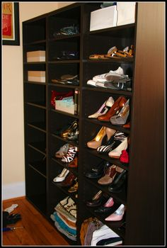 This is not our shoe room, but we created one near the door using these bookshelves from IKEA