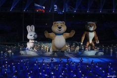 The Sochi Olympic Mascots at the Closing Ceremonies Feb, 2014