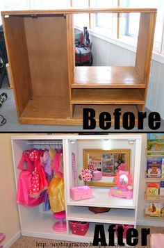 DIY Girl Dress Up Nook From Old Hutch