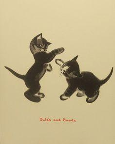 Vintage Boxing Kittens Kids Wall Art Children Cat by earlybirdsale, $8.00