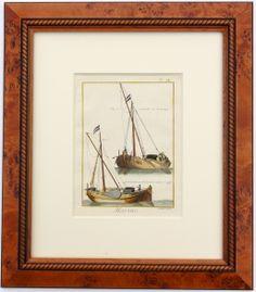 """Sailing Vessels Bateau, 1779.  Hand-colored copper engraving of ships from Encyclopédie, ou dictionnaire raisonné des sciences, des arts et des métiers by Diderot, Paris 1779. Displayed in a wood frame and UV protectant glass.  Dimensions: 16"""" L x 19.5"""" W x 1.5"""" H"""