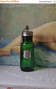 15 % SALE 1920s Antique French Large Perfum Bottle, Paris Decor, Vintage Perfume Bottle, Pharmacy, Green Boudoir, Art Deco, Glass Containers