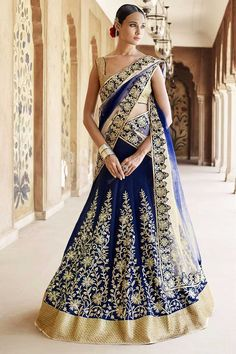 Shop for new Stylish #Navy Blue Art Silk #Lehenga Choli with Dupatta #AndaazFashion http://www.andaazfashion.co.uk/womens/lehenga-choli/navy-blue-art-silk-lehenga-choli-with-dupatta-dmv8535.html