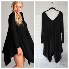 """1X size Black dress has long sleeves and v neck in front and back. Fabric is a soft jersey with a nice flare and swing. Slips over head. This listing is for a Size 1X. Measurements laying flat: armpit to armpit - 1X 20.5"""", 2X 22"""", 3X 23.5"""", shoulder to pointed part of hem - 1X 39"""", 2X 39"""", 3X 40"""", V part of neck to hem - 1X 24"""", 2X 24"""", 3X 24"""""""