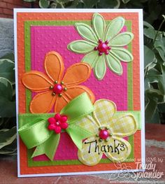 Flower Thank You Card  very bright and colorful, cute.