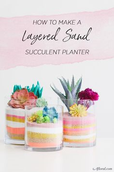 How To Make A Layered Sand Succulent Planter Layered Sand Succulent Planter Create your own forever terrariums with layers of beautifully colored sand and artificial succulents from . Succulent Planter Diy, Succulent Gifts, Succulent Centerpieces, Hanging Succulents, Artificial Succulents, Succulent Gardening, Faux Succulents, Diy Planters, Cacti Garden