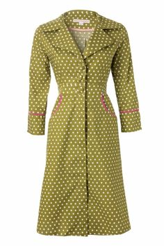 House of Dots - Nurse A Line Dress in Green with white polka dots