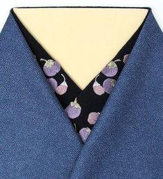 なすびの半襟です。同じ着物でも半襟によって印象ががらっと変わるので不思議です。
