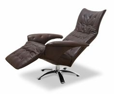 Furniture, Modern Recliner Chair Design With Brown Leather Modern Recliner Chair As Swivel Chair With Footrest ~ Interesting Modern Recliner Chair with Comfortable Seating Designs