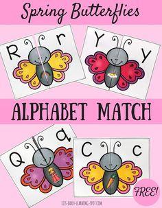 Spring Butterflies Alphabet Match | Liz's Early Learning Spot