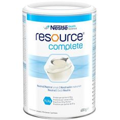 RESOURCE complete powder 400 g PROTEIN, complex carbohydrates UK Calcium Phosphate, Milk Protein, Protein Diets, Zinc Sulfate, Complex Carbohydrates, Sodium Citrate, Acidic Foods, Rapeseed Oil, Neutral