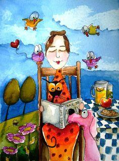 Desayuno dominical, con lectura (ilustración de Lucia Stewart)